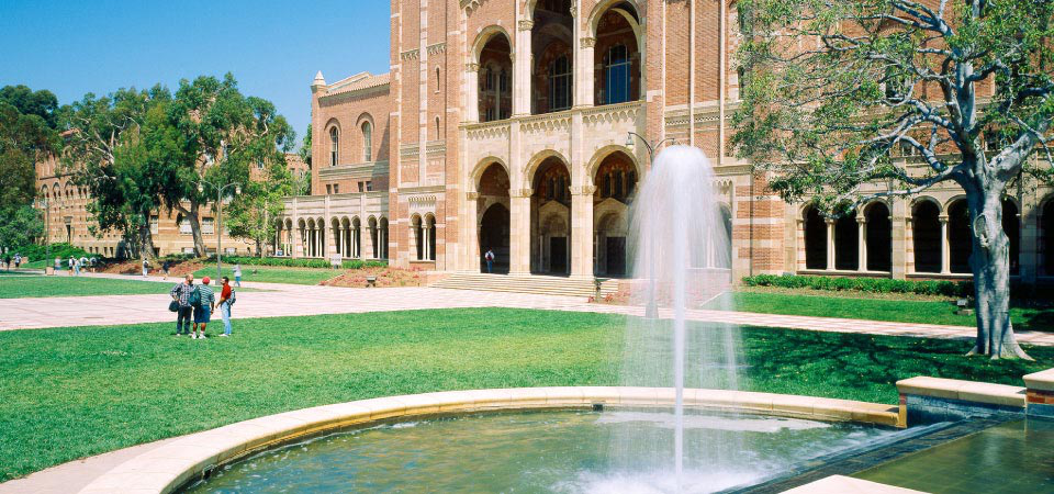Sunny day at the Shapiro Fountain in front of Royce Hall
