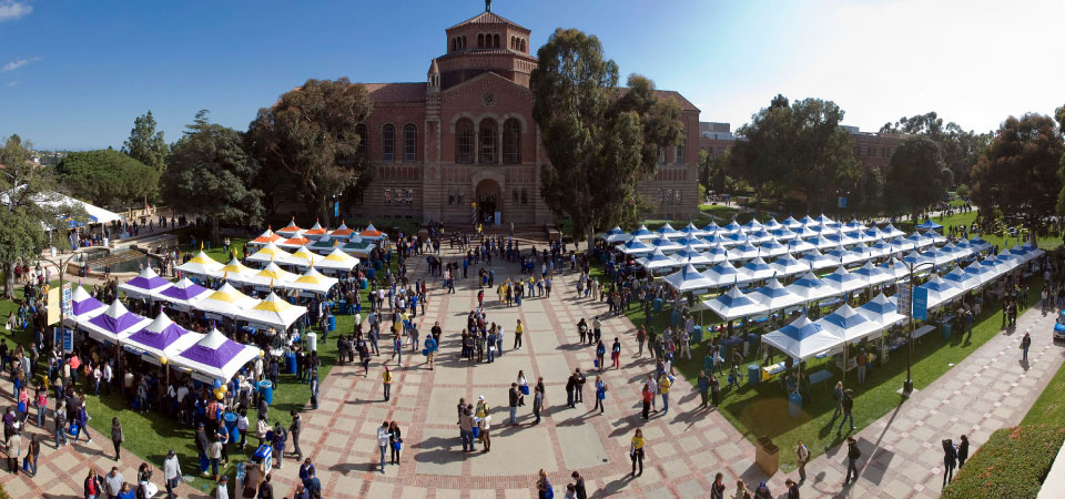 Overhead shot of fair booths for new students