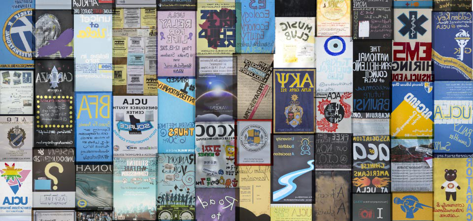 Wall of posters for student clubs 和 events