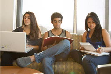 group study in a student lounge