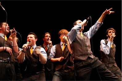 Male student group singing