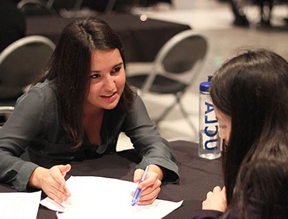 Female student receiving career counseling